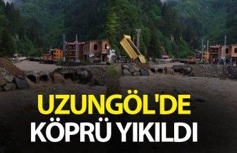 Uzungöl'de köprü yıkıldı
