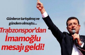 Trabzonspor'dan İmamoğlu'na tebrik!
