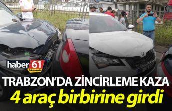 Trabzon'da zincirleme kaza – 4 araç birbirine...