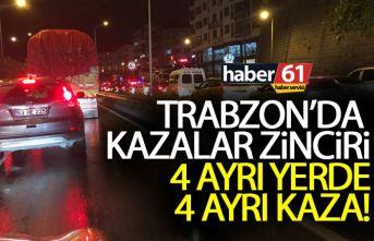 Trabzon sahil yolunda 4 ayrı yerde zincirleme kaza!