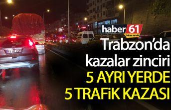 Trabzon sahil yolunda 5 ayrı yerde zincirleme kaza!