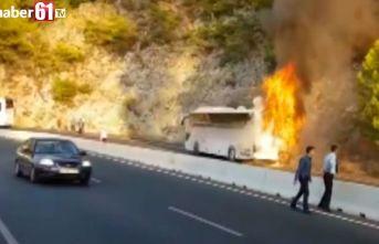 Muğla'da yolcu otobüsü yandı