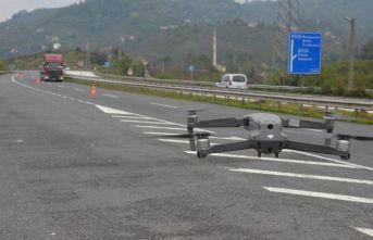 Karadeniz Sahil Yolu'nda 'drone'lu denetim