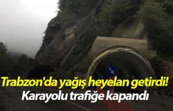 Trabzon'da yağış heyelan getirdi! Karayolu...