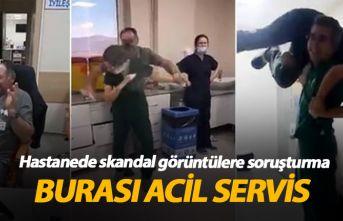 Hastane acil servisinde parti skandalı