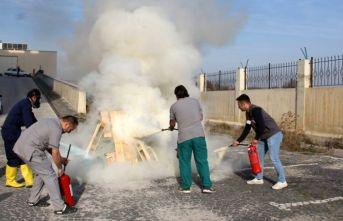 Havza Devlet Hastanesinde yangın tatbikatı