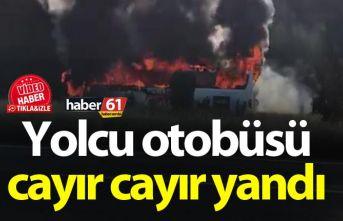 Rize'de yolcu otobüsü cayır cayır yandı