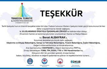 Trabzon 4. Uluslararası iş adamları zirvesi teşekkür