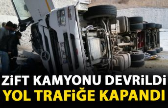 Zift kamyonu devrildi yol trafiğe kapandı