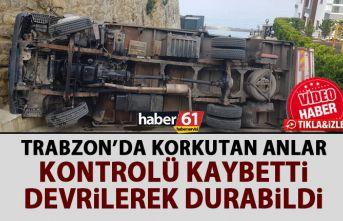 Trabzon'da korkutan anlar! Freni patlayan kamyonet...