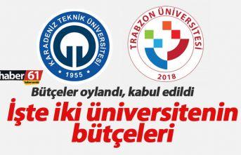 KTÜ ve Trabzon Üniversitesi'nin bütçeleri...