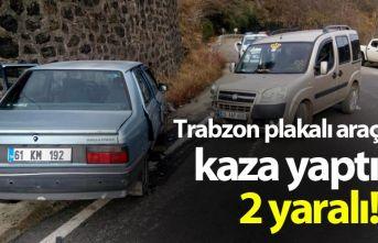 Trabzon plakalı araç kaza yaptı - 2 yaralı