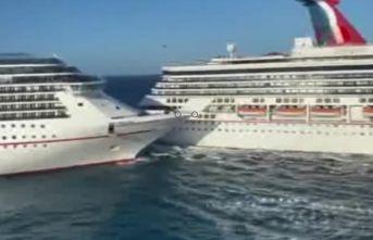 Lüks yolcu gemilerinin çarpışma anı kamerada