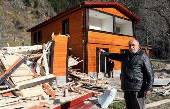 Uzungöl'de yıkımlar devam ediyor
