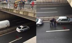 Köprüden yola atladı! 6 metre...