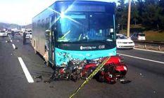 Ümraniye'de otobüsün çarptığı motosikletteki...