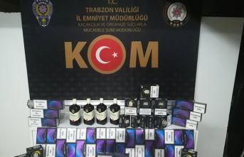 Kaçakçı Trabzon'da yolcu otobüsünde yakalandı!
