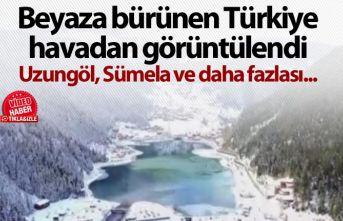 Beyaza bürünen Türkiye havadan görüntülendi...
