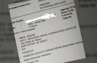 Rize'deki koronavirüs belgesini paylaşan çalışana...