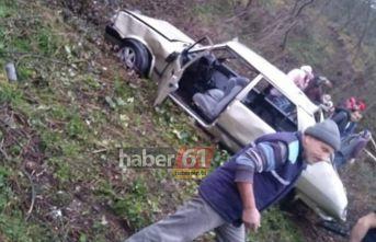 Trabzon'da araç şarampole yuvarlandı! Aynı aileden...