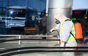 Aydın'da otobüs terminalleri salgın hastalıklara karşı dezenfekte edildi
