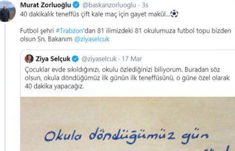 """Bakan Selçuk'un """"ilk teneffüs"""" twitine..."""