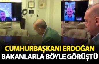 Cunhurbaşkanı Erdoğan Bakanlarla telekonferansa...
