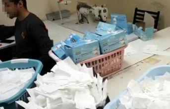 1 milyon sahte maske üretimi yapan atölyeye baskın