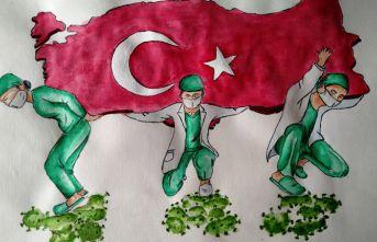 Liseli Melike, sağlıkçıları Türkiye'yisırtlarken resmetti