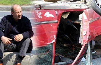 Takla atan otomobilden burnu bile kanamadan çıktı!