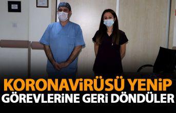 Rize'de sağlıkçılar Koronavirüsü yenip...