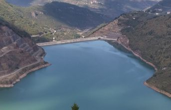 Trabzon'un içme suyunu karşılayan Atasu Barajı'nda...
