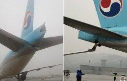 İki dev uçak apronda çarpıştı!