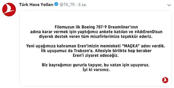 THY'nin rüya uçağının ismi Maçka oldu - İlk uçuş Trabzon'a