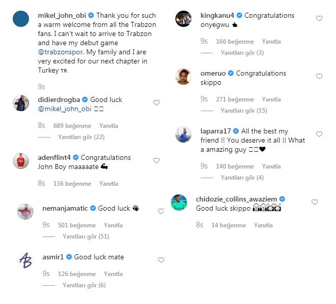 Obi Mikel'e dünya yıldızlarından tebrik!