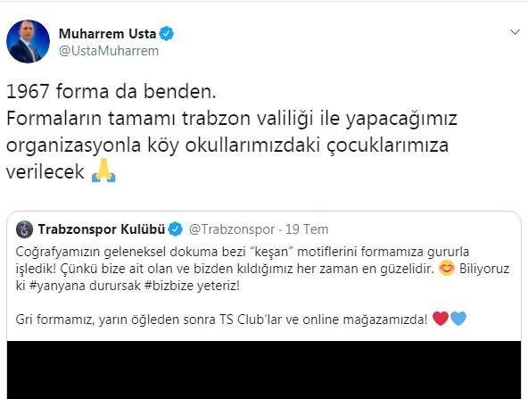 Muharrem Usta'dan Trabzonspor'a forma desteği