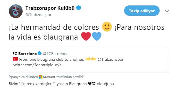 """Trabzonspor'dan Barcelona'ya: """"Bizim için hayat bordo-mavi!"""""""