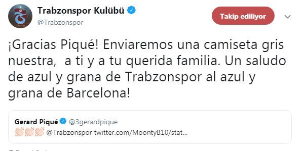 Barcelona ve Pique'den Trabzonspor'a cevap