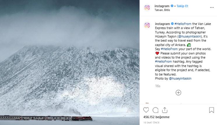 Instagram'dan Van Gölü Ekspresi paylaşımı