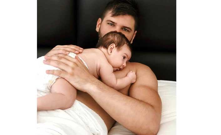 Yakışıklı oyuncu, 2 aylık oğluyla çekildiği fotoğrafı paylaştı