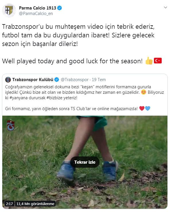 Parma'dan Trabzonspor'a tebrik!