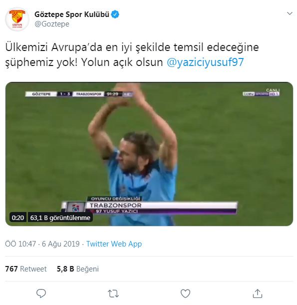 Yusuf'a Göztepe'den tebrik!