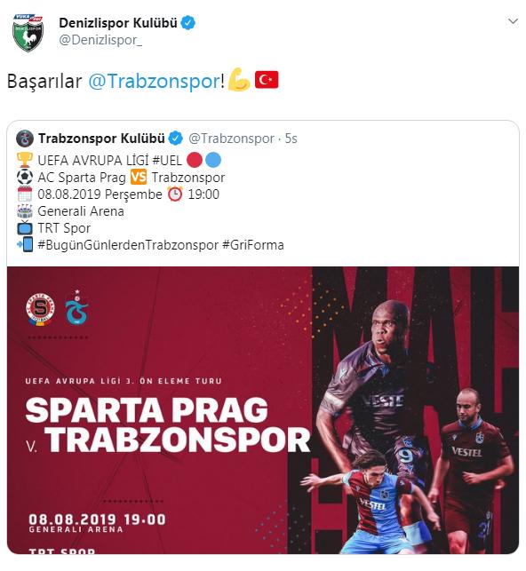 Kulüplerden Trabzonspor'a başarı dileği!