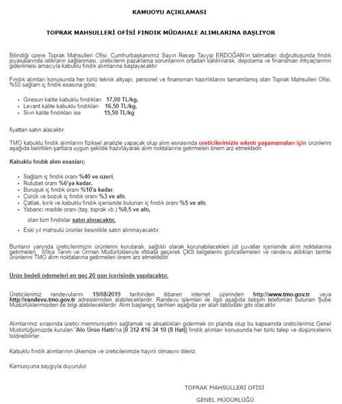 TMO Fındıkta müdahale alımına başlıyor – İşte Fındık fiyatları