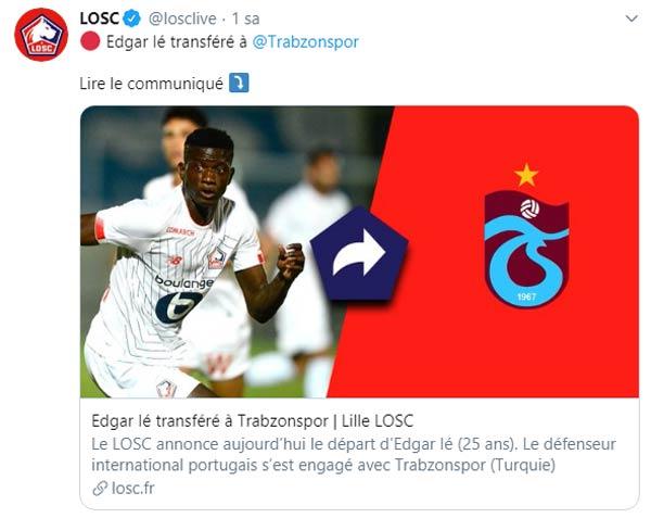 Lille Trabzonspor'un transferini açıkladı