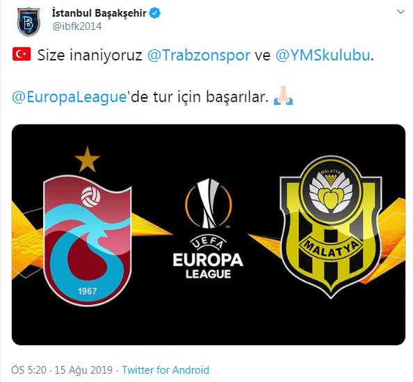Medipol Başakşehir'den Trabzonspor'a destek