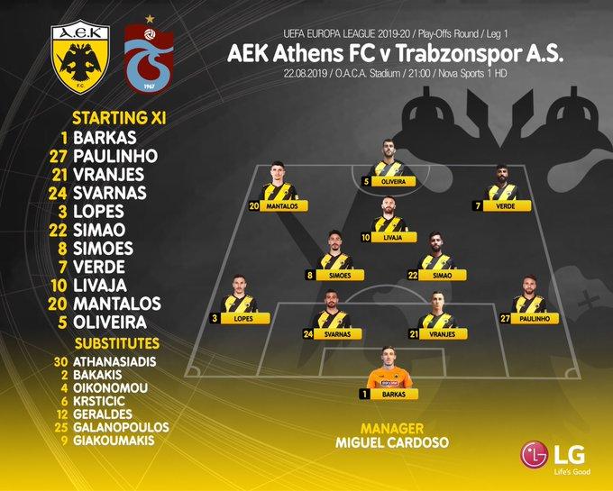 Trabzonspor'un AEK ilk 11'i belli oldu
