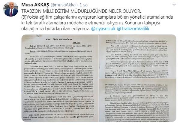 Türk Eğitim Sen Genel Sekreteri Musa Akkaş'tan şok Trabzon iddiaları…