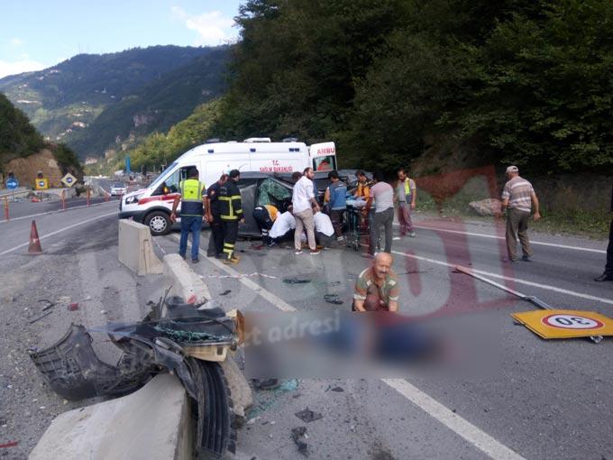 Trabzon'da kaza: Kontrolden çıkan otomobil takla attı