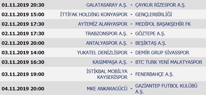 Süper Lig'de 9. Hafta maçları, puan durumu ve 10. Hafta maçları